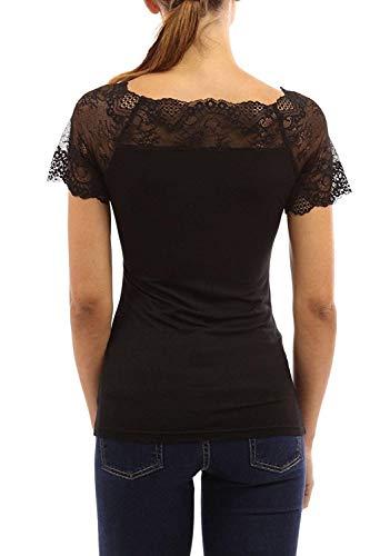 Chic Rond Dentelle Tops Confortable Pastel lgant Shirts pissure Manches Engrener Uni Mode Haut Femme Et T Courtes Col Fit Costume Slim T Shirt Manche Noir I7Rf18q
