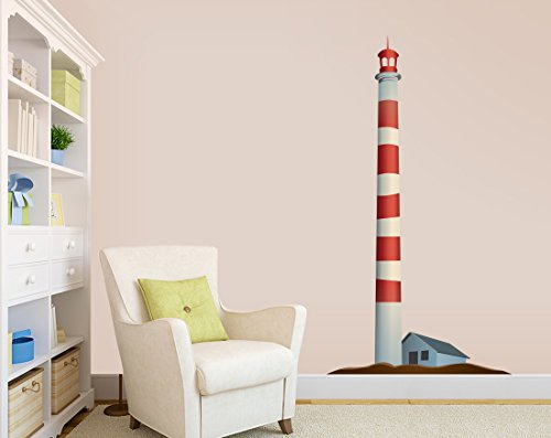 Red and White Striped Lighthouse - Vinyl Wall Decal