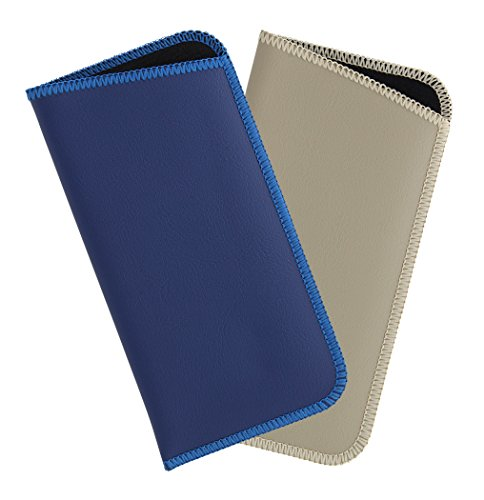 2 Pack Faux Leather Eyeglass Slip Case For Men & Women, Assorted Colors & Sizes