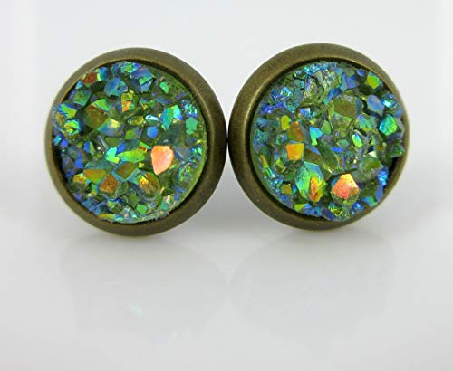 (Antiqued Gold-tone Pear Green AB Faux Druzy Stone Stud Earrings 8mm )