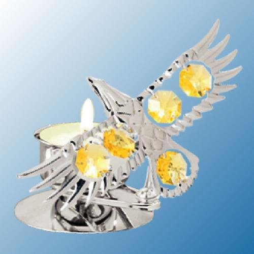 Chrome Plated Bald Eagle Tea-Light..... With Yellow Swarovski Austrian Crystal