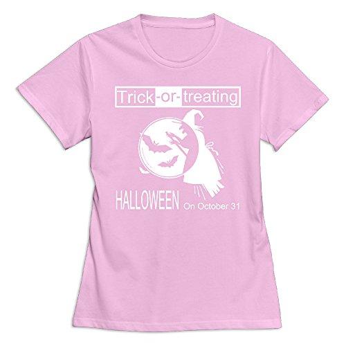 Women's Happy Halloween Day 100% Cotton O Neck T-Shirt Pink US Size XXL -