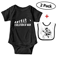 YZY Clothing Evolution Man Fishing Toddler Short-Sleeve Climbing Clothes Jumpsuit One-Pieces Bodysuit for Unisex Baby Black