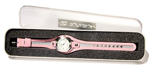 pink-wristwatch-watch-leather-band-with-duct-tape-inlay-in-metal-gift-box-by-ducti