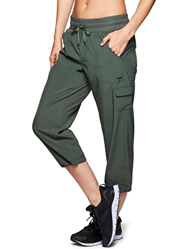 RBX Active Women's Cargo Lightweight Woven Capri Pant Green XL (Leggings Capri Cargo)