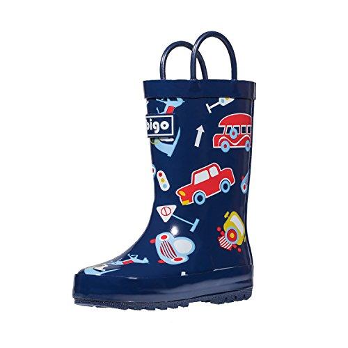 hibigo Children's Natural Rubber Rain Boots with Handles Easy for Little Kids & Toddler Boys Girls, Car