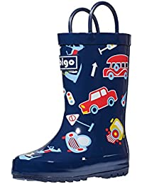 Children's Natural Rubber Rain Boots with Handles Easy for Little Kids & Toddler Boys Girls, Car