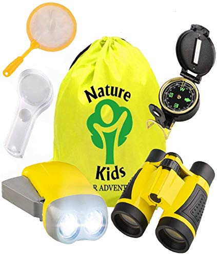 Adventure Kids - Educational Outdoor Childrens Toys - Binoculars, Flashlight, Compass, Magnifying Glass, Butterfly Net & Backpack. Explorer Kit - Gift Birthday Boy & Girl, Great Set for 3-12 Year Old