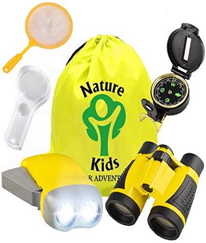 Outdoor Exploration Set - Adventure Educational for Kids, Children׳s Toys Binoculars, Flashlight, Compass, Magnifying Glass, Butterfly Net & Backpack. Explorer Kit, Great Gift for Birthday & Christmas