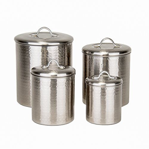 2 Piece Canister (Old Dutch 4 Piece Hammered Brushed Nickel Canister Set)