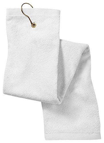 Anvil Terry Hand Towel - Anvil Deluxe Tri-Fold Hemmed Hand Towel With Center Grommet and Hook (T68TH)- White, OS