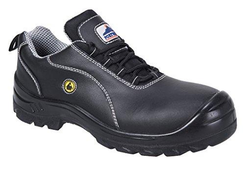 Portwest FC02 - Zapato de cuero de seguridad ESD S1, color Negro, talla 47 negro