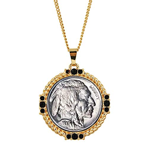 American Coin Treasures Buffalo Nickel Medallion Goldtone Necklace Pendant-with Faceted Round Jet Glass Stones| Buffalo Nickel Medallion with Cable Chain | Layered in 24 KT Gold