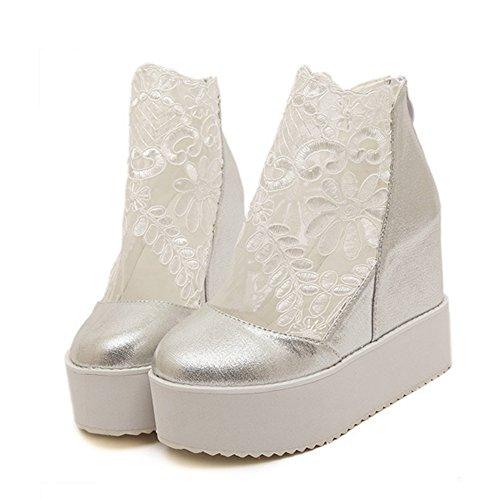 T-july Mocasines Para Mujer Zapatos De Encaje Casual Slip On Round Toe Wedge Talón Moda Penny Plata