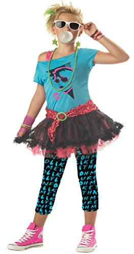 [Girls 80S Valley Kids Child Fancy Dress Party Halloween Costume, S (6-8)] (1980s Movie Character Costumes)