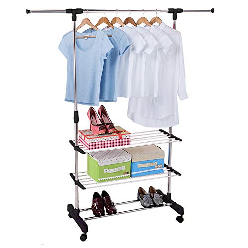 LuckyerMore Hanging Clothes Garment Rack Single Rail Adjustable Clothing Racks Hanger with Wheels and Lower Shelf Storage