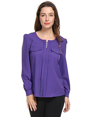 Allegra K Women's Buttons Decor Decorative Pockets Ruched Blouse XS Purple - Decorative Pockets