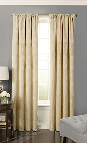 Beautyrest 15779052063PLG Odette 52-inch by 63-Inch Blackout Single Window Curtain Panel, Pale Gold