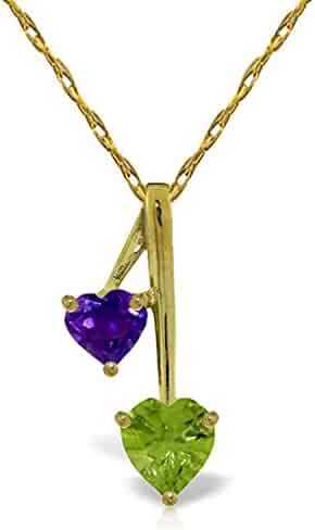 ALARRI 0.55 Carat 14K Solid Gold Fancy And Imagination Peridot Necklace with 18 Inch Chain Length