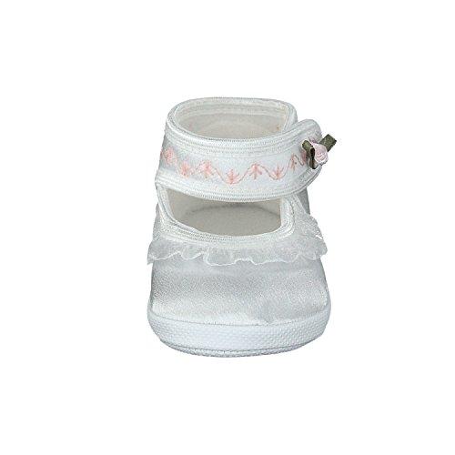 Omnia-Baby Pantau.eu Taufschuhe Babyschuhe Lauflernschuhe Kinderschuhe Babyschühchen Krabbelschuhe, Festliche Baby Schuhe, Satin, Spitzenstoff - Zapatos primeros pasos de Satén para niña Weiß-Rose