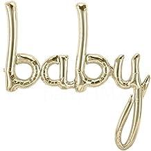 'baby' White Gold Script Banner Foil Balloon