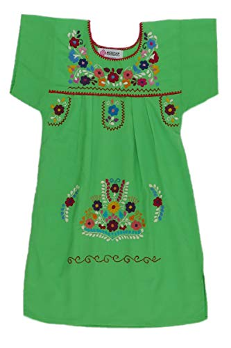 Mexican Clothing Co Little Girls Mexican Dress Traditional Tehuacan Poplin CT 2T Green 9273]()