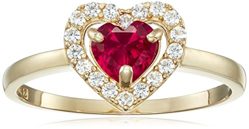 10K Yellow Gold Created Ruby Heart with Created White Sapphire Ring, Size 8 10k Yellow Gold Created Ruby