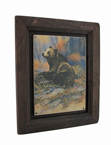 (Zeckos Big Sky Carvers Grizzly Bear Settling Down Wood Frame Wall Art)
