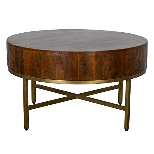 Table Base Brass Antique - George Oliver Brown Solid Mango Wood Coffee Table with Antique Brass Base + Free Basic Design Concepts Expert Guide