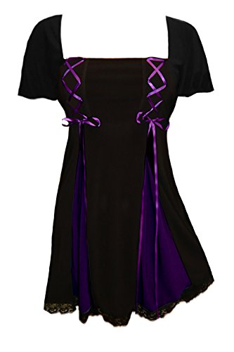 Dare to Wear Victorian Gothic Boho Women's Plus Size Gemini Princess S/S Corset Top Black/Purple 5X ()