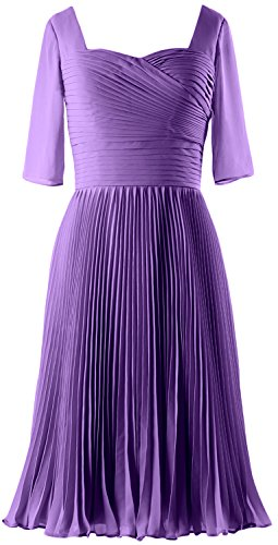 MACloth Women Half Sleeves Mother of Bride Dress Chiffon Cocktail Formal Gown Morado