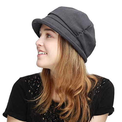 BLACK HORN Womens Newsboy Cabbie Beret Cap Cloche Visor Hats (Linen/Cotton- Grey)