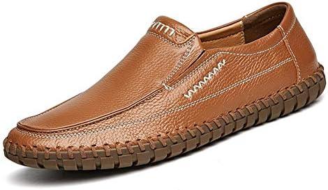 運転ローファー用男性フラットスリップオンビジネス本革の靴ステッチビーガンラウンドつま先ロートップラバーアウトソール滑り止め YueB HAF (Color : 褐色, サイズ : 25.5 CM)