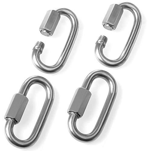 Price comparison product image 8mm Quick Link Oval Carabiner Chain Quick Links Connector 4pcs M8 Stainless Steel Swing Clip Screw Lock Swing Set By STARVAST For Swing Play Set