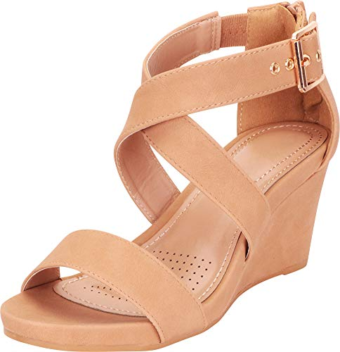 - Cambridge Select Women's Crisscross Strappy Platform Mid Wedge Sandal,9 B(M) US,Tan PU