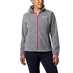 Columbia Women's Benton Springs Full Zip Jacket, Soft Fleece with Classic Fit, Light Grey Heather/Fuchsia, X-Large