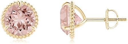 Rope Framed Claw-Set Amethyst Martini Stud Earrings 7mm Amethyst