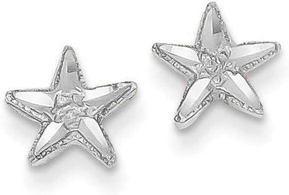 14k Polished and Diamond-Cut Starfish Post Earrings