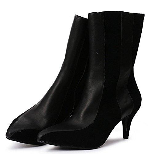 Stivali alto invernale con appuntito Tacco e 8075FD 43 39 Stivali Taglia alto Negli femminili donna autunno da larga stivali Black tacco BLACK 4wI4qPZ