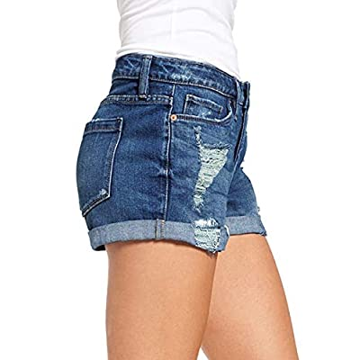 LookbookStore Women's Mid Rise Rolled Hem Distressed Jeans Ripped Denim Shorts: Clothing
