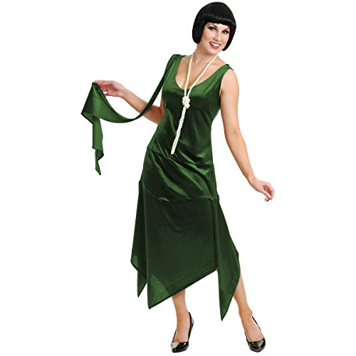 1920s Easy Costumes (Sandy Speak Easy Flapper Adult Costume Dark Green - Plus Size)