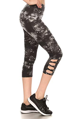 ShoSho Womens Yoga Capris Sports Leggings Activewear Bottoms Tie Dye Black Medium
