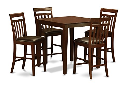 East West Furniture VNEW5-MAH-LC 5-Piece Counter Height Table Set, Mahogany Finish