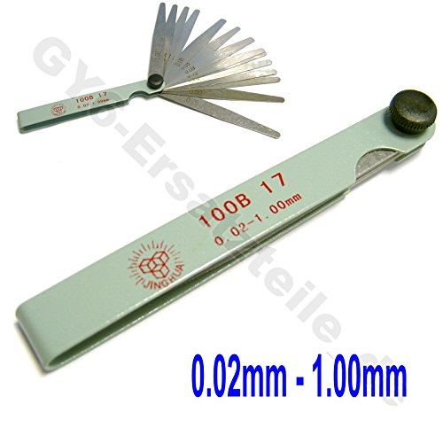 METRIC FEELER GAUGE 0.02- 1MM 17 BLADES THICKNESS GAP FILLER MEASURING TOOL SCOOTER MOPED ATV GY6 50-250CC 4 STROKE ENGINES TAOTAO VIP SUNL KYMCO ROKETA PEACE VESPA ZNEN JMSTAR JONWAY BENZHOU VIP SUNL ()