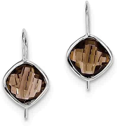 Smoky Quartz Diamond Earrings .015cttw 23mm x 12mm Mia Diamonds 925 Sterling Silver