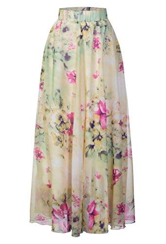 Pretchic Women's Blossom Floral Chiffon Maxi Long Skirt Light Green Large ()
