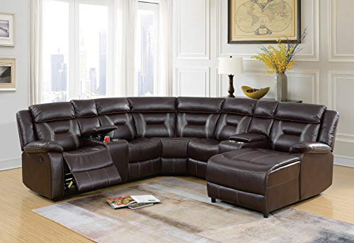 Esofastore Home Theater Sectional Living Room 5pcs Reclining Motion Sectional Sofa Gel Leatherette Loveseat Console Corner Wedge Armless Chair Push Back Chaise Dark Brown Cushion Couch