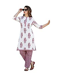 Fashion Farmer's Women's Red Cotton Kurti with Ankle Length Palazzo Pants.