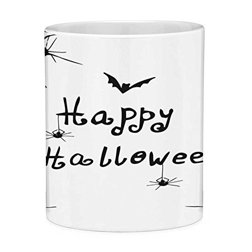 Funny Coffee Mug with Quote Spider Web 11 Ounces Funny Coffee Mug Happy Halloween Celebration Monochrome Hand Drawn Style Creepy Doodle Artwork Black White