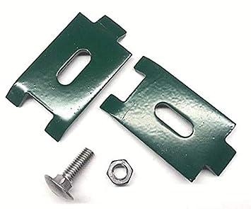 5 X Mattenverbinder Doppelstabmattenzaun In Moosgrun Mit Schraube